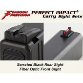 DP Glock 43 Fixed Carry Sight Set - Black Rear & Fiber Optic Front